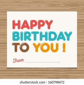 Happy birthday card, balloons type font vector design