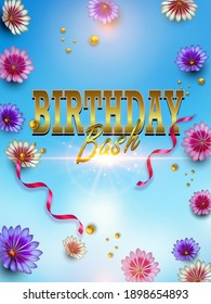 Happy Birthday card or banner with colorful  flowers and typography gold letter on blue. You can place your own text on the bottom. Vector illustration template design.