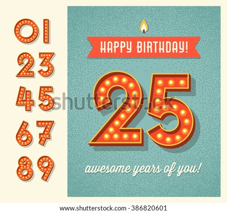 Happy Birthday Card Banner Design Set Stock Vector Royalty Free