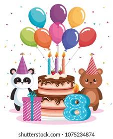 happy birthday card with bear panda and teddy