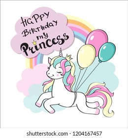 Happy Birthday card with a beautiful unicorn and the inscription Happy Birthday my princess