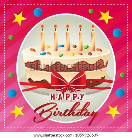 Happy Birthday Card With Big Cake