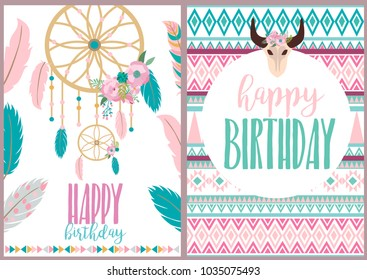 Happy Birthday card with boho elements. Vector illustration