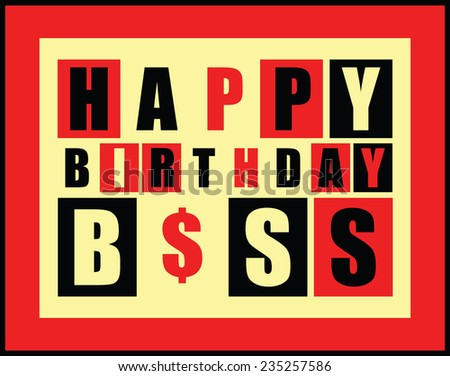 Happy Birthday Card Happy Birthday Boss Stock Vector Royalty Free
