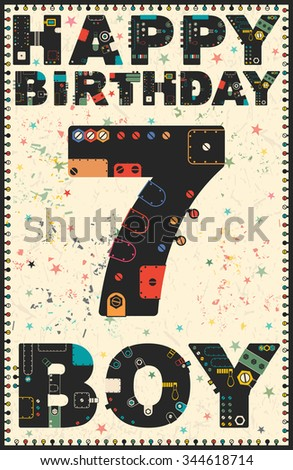 Happy Birthday Card Boy 7 Years Gift Vector Illustration