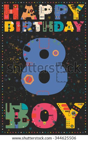 Happy Birthday Card Boy 8 Years Gift Vector Illustration