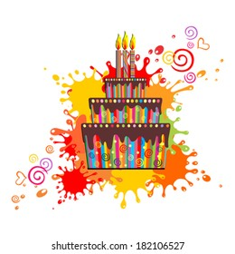 Happy Birthday Card Cake With 3 Candles Vector Illustration