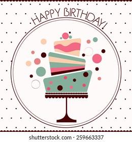 Happy Birthday card , birthday cake with decorations