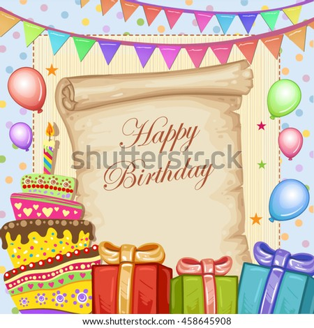 Happy Birthday Card With Cake Gifts And Balloons