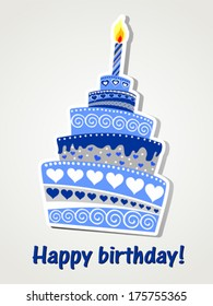 Happy birthday card. Birthday cake. Vector Illustration