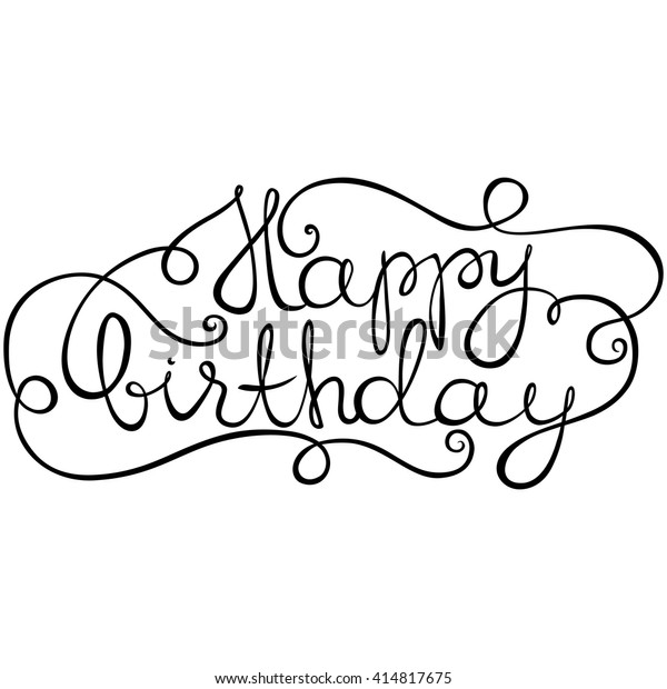 Happy Birthday Card Calligraphy Font Lettering Stock
