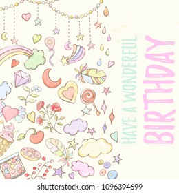 Happy Birthday card can be used for holiday cards, invitation, postcard, banner or website. Hand drawn illustration of flowers, leaves, feathers, balloon, heart, rainbow.