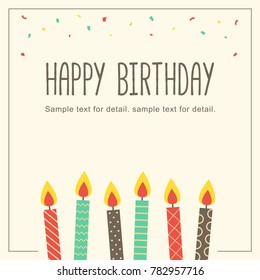 Happy birthday card with candle in retro background. Greeting card cover template.