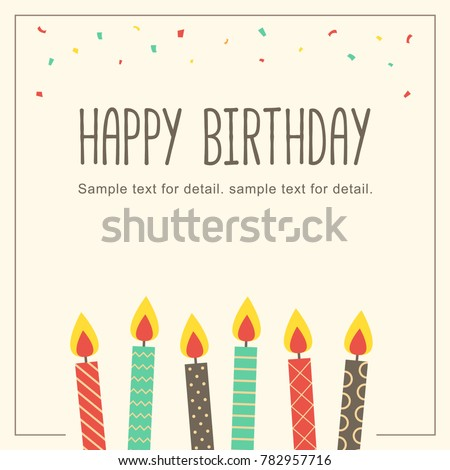 Happy Birthday Card With Candle In Retro Background Greeting Cover Template