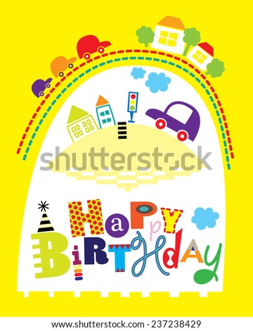 Happy Birthday Card Cars Houses Editable Stock Vector Royalty Free
