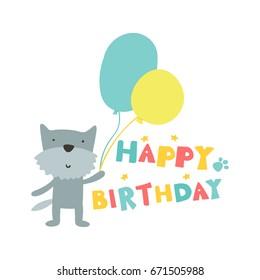 Happy Birthday Card With Cartoon Dog Balloons