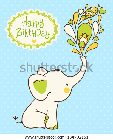 Happy Birthday Card Cartoon Elephant Wishes Vector Illustration Baby Shower