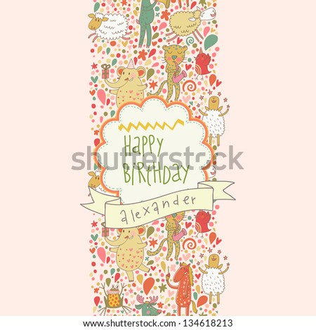 Happy Birthday Card Cartoon Musicians Animals Frog Elephant Leopard Sheep Horse And Others Seamless Pattern Can Be Used For Wallpaper Fills