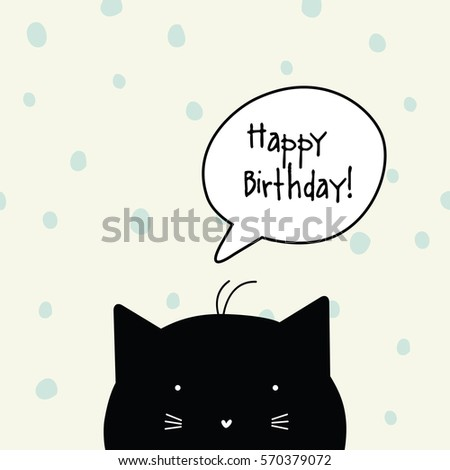 Happy Birthday Card Cat Character Template Graphic Design Element