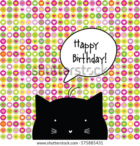 Happy Birthday Card Cat Character Template Graphic Design Element Seamless Pattern At