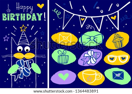 Happy Birthday Card With Cat Funny Greeting Vector Illustration