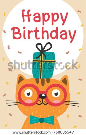 Happy Birthday Card With Cat In Glasses And Gift