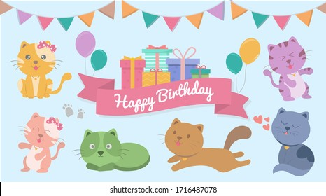 Happy Birthday card for cat lover, Greeting card with cute cats and gifts. Vector illustration.