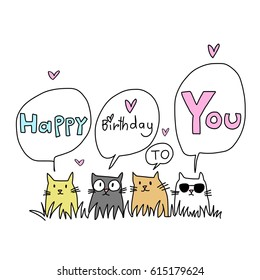 Happy Birthday Card For Cat Lover Several Cats Sitting On Grass And Meowing