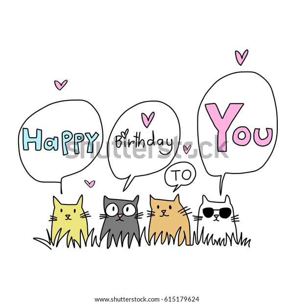 Happy Birthday Card Cat Lover Several Stock Vector (Royalty