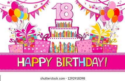 Happy birthday card. Celebration background with number eighteen, garland,  Birthday cake, balloons and place for your text. Horizontal banner. Greeting, invitation card or flyer. vector illustration