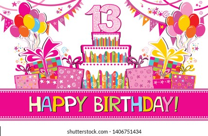 Happy birthday card. Celebration background with number thirteen, garland,  Birthday cake, balloons and place for your text. Horizontal banner. Greeting, invitation card or flyer. Vector illustration