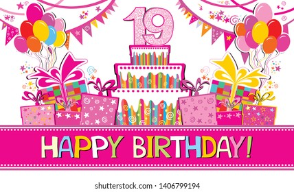 Happy birthday card. Celebration background with number nineteen, garland,  Birthday cake, balloons and place for your text. Horizontal banner. Greeting, invitation card or flyer. Vector illustration