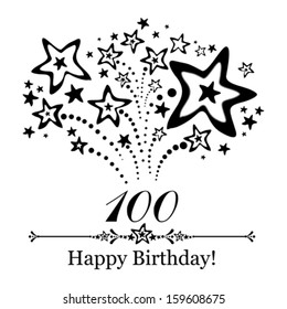 Happy birthday card. Celebration background with number hundred, firework and place for your text. Vector illustration