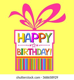 Happy birthday Card. Celebration background with Birthday cake, gift boxes and place for your text. Vector Illustration