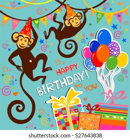 Happy Birthday Card Celebration Background With Monkey Balloons Gift Boxes And Place For
