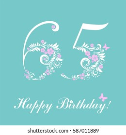 Happy birthday card. Celebration background with number sixty five and place for your text. Vector illustration