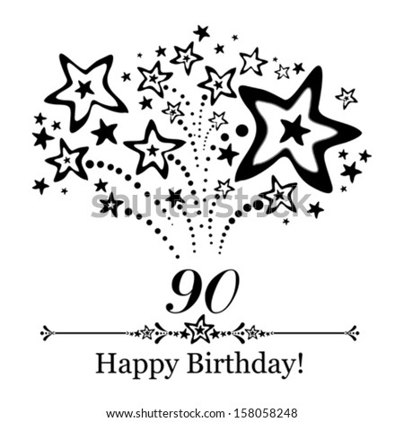 Happy Birthday Card Celebration Background With Number Ninety Firework And Place For Your Text Vector Illustration