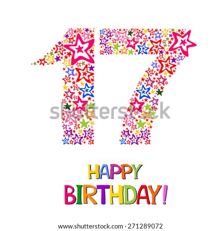 Happy Birthday Card Celebration Background With Number Seventeen And Place For Your Text Vector