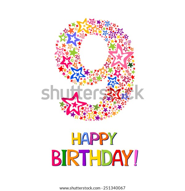 Happy Birthday Card Celebration Background Number Stock Vector Royalty Free 251340067