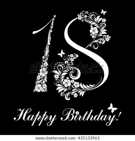Happy Birthday Card Celebration Black Background Stock Vector