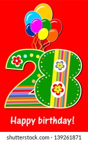Happy birthday card. Celebration red background with number twenty eight, balloon and place for your text. Vector illustration