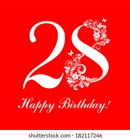 Happy birthday card. Celebration red background with number  twenty eight and place for your text. Vector illustration