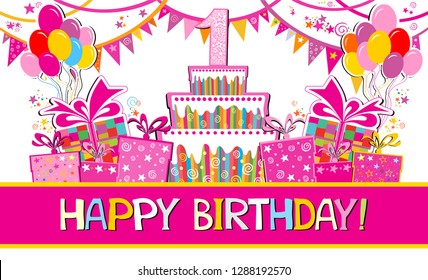 Stupendous 1St Birthday Images Stock Photos Vectors Shutterstock Personalised Birthday Cards Paralily Jamesorg