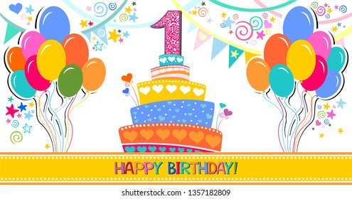 Happy birthday card. Celebration white background with number one, Birthday cake, balloons, garland and place for your text. Horizontal banner. Greeting, invitation card or flyer. Vector illustration