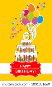 Happy birthday card. Celebration yellow background with number six, balloon, birthday cake and place for your text. vector illustration