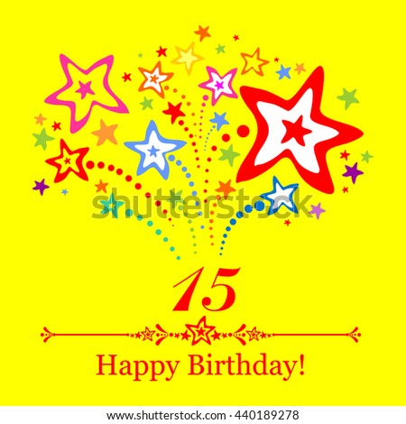 Happy Birthday Card Celebration Yellow Background Image Vectorielle