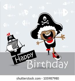 Happy Birthday Card child pirate
