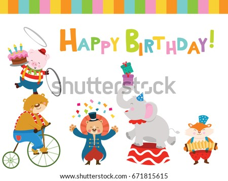 Happy Birthday Card With Circus Animals