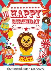 Happy Birthday Card Circus Design