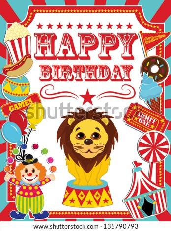 Happy Birthday Card Circus Design Stock Vector Royalty Free